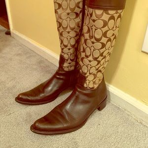 Coach Olivia Canvas Riding Boots
